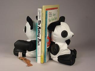 leather bookends shaped like pandas