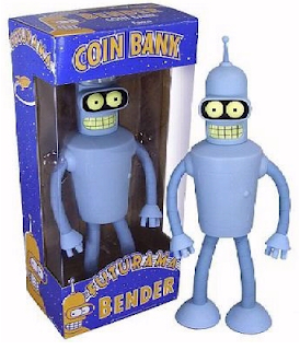 bank in shape of robot Bender from TV show Futurama