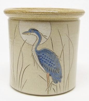 utensil holder with blue heron