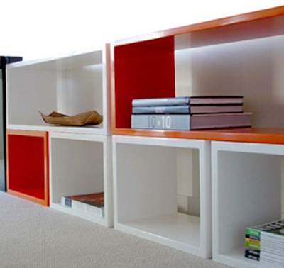 lacquer modular shelves
