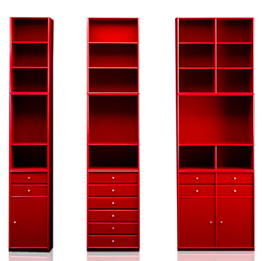 modular shelving, red