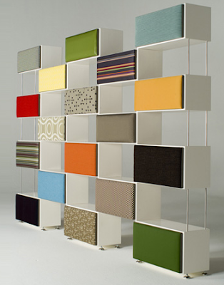 modular shelving with fabric panels