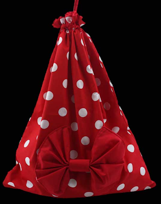 polka dot laundry bag with a bow