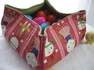 Easter basket, bunny print
