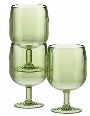 stacking wine glasses, acrylic, green