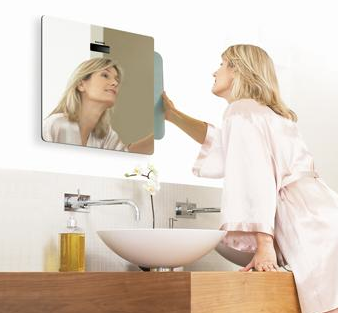 bathroom scale storedbehind a mirror