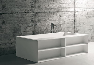 bathtub with shelves