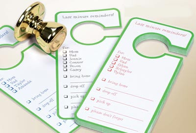 door knob reminders with checklist - says Last Minute Reminders