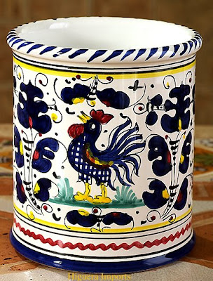 cermaic utensilholder with rooster and more
