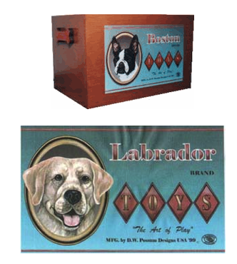 breed toy box - picture of entire box, and close-up of Lab picture