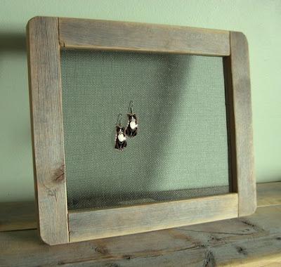 earring holder frame from  barnwood
