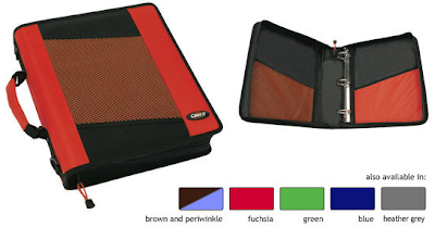 zippered ring binder, open and closed - color options also shown