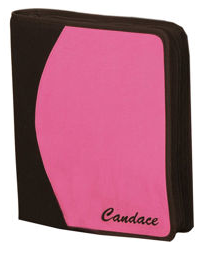 zippered binder in pink and black, with name written on it