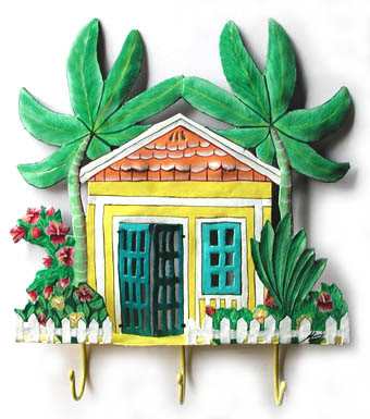 wall hook shaped like Caribbean house, with palm trees