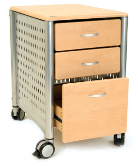file cabinet on casters, metal and wood