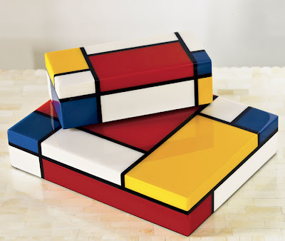 3 lacquer boxes inspired by Piet Mondrian