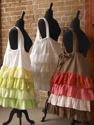 3 ruffled laundry bags