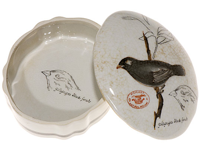 open porcelain box with finch on lid and another drawing inside