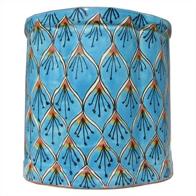 ceramic Talavera pottery wastebasket in peacock design