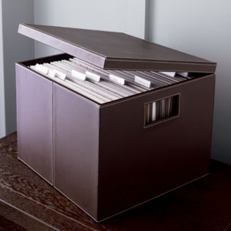 faux leather file box with hinged lid