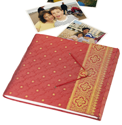 photo album with cover made from silk sari