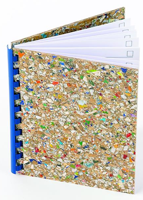 address book made from recycled juice cartons - multicolor cover