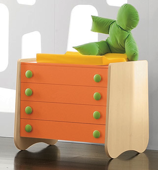 child's dresser - orange with green knobs