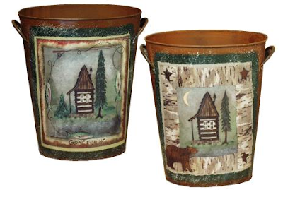 two metal wastebaskets with cabin and tree - one has a bear, one says gone fishing