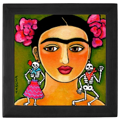 keepsake box with picture of Frida Kahlo with Day of the Dead earrings