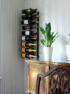 wall wine rack designed so you can read the labels