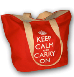 Keep Calm and Carry On tote bag, red