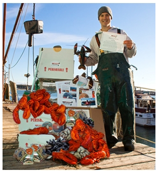 lobsterman with lobsters