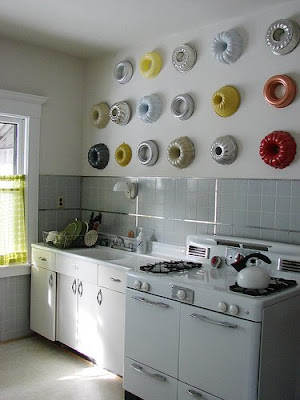 bundt pans on wall