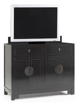 small black TV lift cabinet