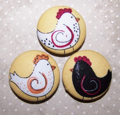 three magnets, each with a French hen