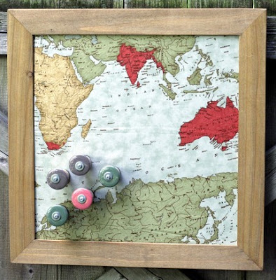 magnet board made with recycled materials; map design fabric