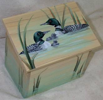 recipe box with painted ducks
