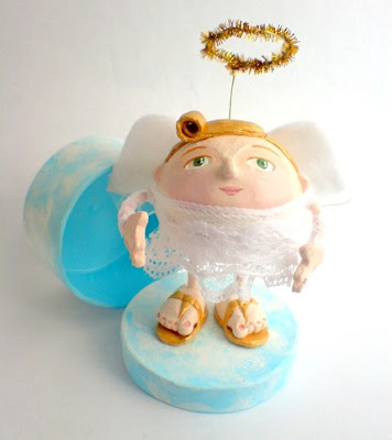 whimsical jewlery box with figure of guardian angel