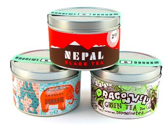 three tea tins
