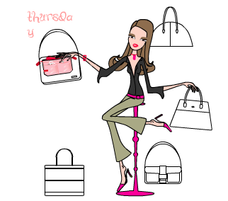 drawing of purse organizer, showing it moving from purse to purse on various days of the week