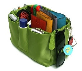 purse organizer, filled