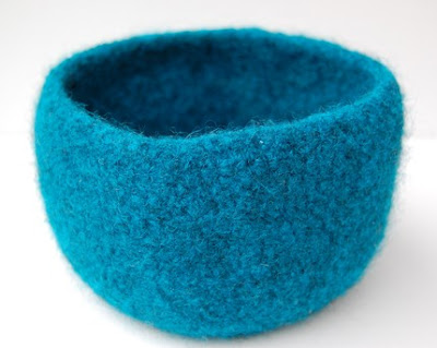 turquoise blue felted bowl