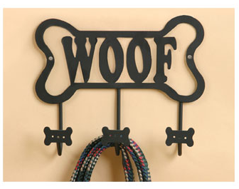 bone leash rack, metal, with the word WOOF