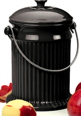 black stoneware compost pail