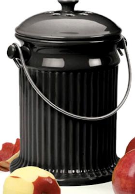 black stoneware compost pail