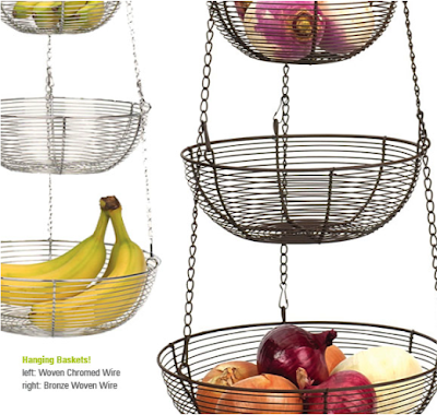 hanging wire baskets with fruit, onions, etc.