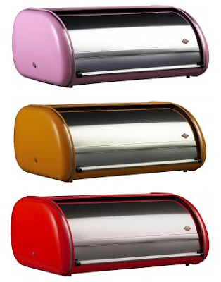 3 bread boxes with colorful side panels