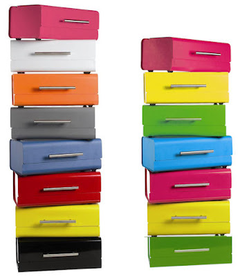 stacks of brightly-colored bread bins