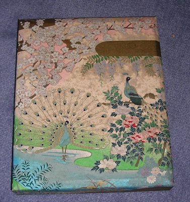 box made with handmade paper - with peacock, flowers, etc.