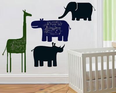 animal chalkboards - elephant, rhino, giraffe, and hippo